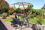 Beauty.Scouts Thekenset 'Stylight' Gartentheke Bar und 2 Thekenhocker anthrazit grau Dach wasserabweisend Stahlgestell Kunststoffflächen in Holzoptik