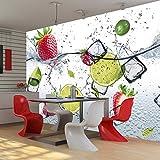 murando - Fototapete Küche 350x256 cm - Vlies Tapete - Moderne Wanddeko - Design Tapete - Wandtapete - Wand Dekoration - Obst Limone Erdbeere grün weiß rot Wasser Eis 10110908-2