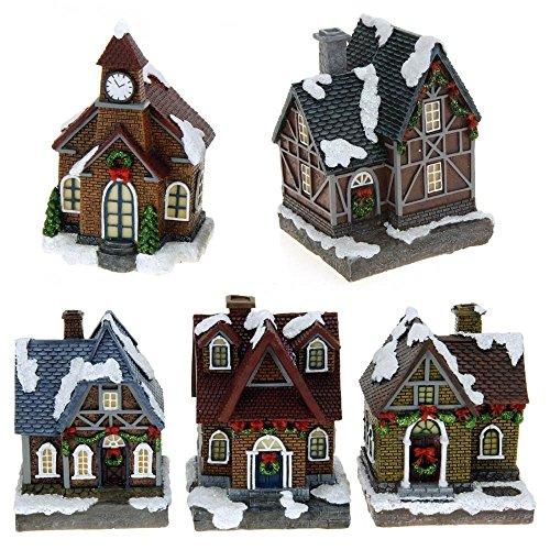 ToCi Weihnachtsdorf mit 5 Häusern und LED Beleuchtung Batteriebetrieben