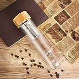 freigeist Teeflasche mit Sieb 500 ml, doppelwandig, isoliert, Glasflasche mit Infuser, Teezubereiter, Trinkflasche mit Filter, Thermosflasche Glas, Teebecher to go, Teekanne Glas mit Bambusdeckel