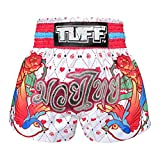 Tuff Boxen Muay Thai Shorts Frauen Mädchen, Unisex, White Rose, Large