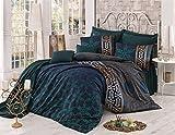 Damast Bettwäsche Set Queen Retro 3Stück Baumwolle Leaf Mandala Leinen grün gold indischen Satin Bettwäscheset, Bettbezug Ägyptische Oriental Sultan Vintage Ethnische afrikanischen Nahen Osten