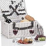 Weidenkorb Picknickkorb aus Weide mit Picknick Geschirr, Besteck, Gläsern, Decke, Korkenzieher