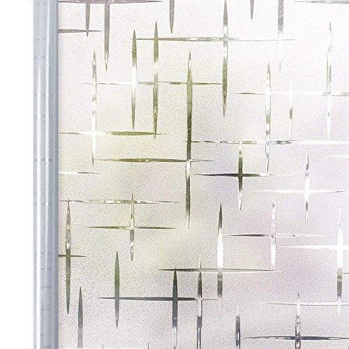 Homein Milchglasfolie Fensterfolie Milchglas Duschkabinen Blickdicht Folie Fenster Selbstklebend Sichtschutzfolie Sichtschutz Statisch Haftend für Glastüren Bad Badfenster Sterne Kreuz 90 x 200 cm