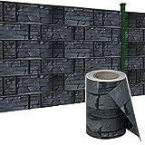 HENGMEI 65m x19cm Sichtschutzfolie PVC Sichtschutzstreifen mit Zaunfolie Befestigungsclipse Windschutz Stabmattenzaun Gartenzaun Blickdicht für Gartenzaun, Balkon (Schiefer, 65m)
