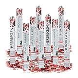 Relaxdays 10er Set Partypopper, 40 cm, für Hochzeit und Verlobung, Konfettikanone bis 8 m Effektöhe, Konfettiregen romantisch (Rote Herzen)