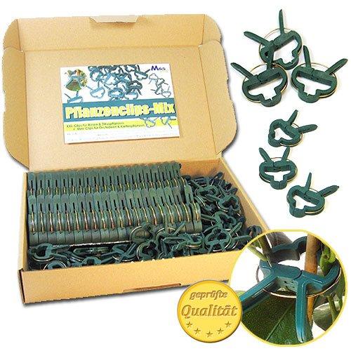 Pflanzenclips 100 Stück stabile Clips Pflanzenklammern für kleine & große Triebe Spaliere Rosenbögen Rankhilfen (100er-Set MIXED)