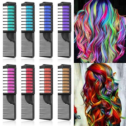 Lictin Haarkreide Kamm Haarfarbe Kreide Kamm Haarkreide Kinder Auswaschbar 8 Farben Hair Chalk für Karneval Party Cosplay mit 2pcs Handschuhe 2pcs Friseurumhang