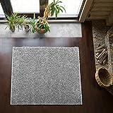 Shaggy-Teppich | Flauschiger Hochflor fürs Wohnzimmer, Schlafzimmer oder Kinderzimmer | einfarbig, schadstoffgeprüft, allergikergeeignet in Farbe: Grau; Größe: 150 x 150 cm quadratisch