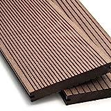 WPC Terrassendielen Massiv Dielen - Komplett-Set Dunkelbraun | Qualitäts-Muster Holz-Brett Dielen | Boden-Fliesen + Unterkonstruktion & Clips | Balkon Boden-Belag + rutschfest + witterungsbeständig