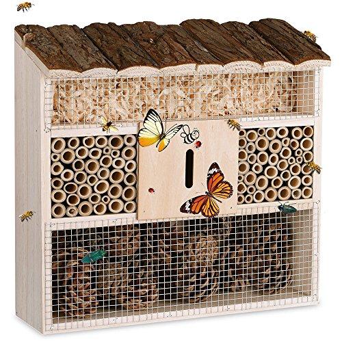 Deuba Insektenhaus Insektenhotel Schmetterlingshaus aus Holz Nistkasten Nistplatz Brustkasten Bienenhaus Insekten Bienen Hotel Natur Garten 40cm