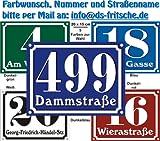 Hausnummern Schild aus Alu mit Wunschtext und Wunschfarbe, 20x15 cm (navyblau)