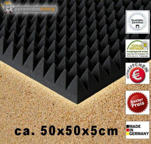 B-Ware in geprüfter Qualität nochmals bis zu 50% reduziert!! 8 x Akustikschaumstoff ca. 50x50x5cm, Anthrazit Schwarz, Schaumstoff Noppenschaum