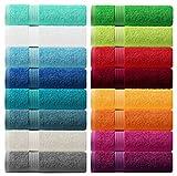 Lashuma Handtuch Set - Frotteeserie Linz - in 16 Farben und 6 Größen, Farbe: scharlach rot, 4er Set Gästetuch 30x50 cm