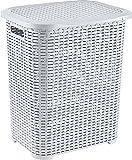 Hoffmanns 45 Liter Rattanoptik Aufbewahrungskorb Wäschekorb Design Wäschesammler Wäschebox Wäschebehälter Wäschetonne Wäschetruhe in Flechtoptik (Weiss)