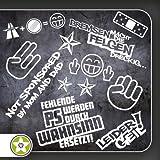 Sticker Bomb Set 01 - Bogengröße: A4 Bremsen…Felgen…, Shockerhand, Autobahnfreak, Fehlende PS…, Leider Geil... Verschiedene Farben Auswahl Sammlung Aufkleber Scheibe Tuning Decal