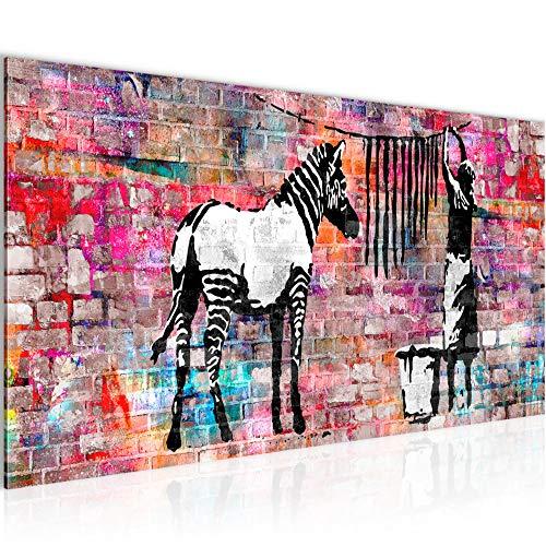 Bilder Banksy Washing Zebra Wandbild 100 x 40 cm Vlies - Leinwand Bild XXL Format Wandbilder Wohnzimmer Wohnung Deko Kunstdrucke Bunt 1 Teilig - Made IN Germany - Fertig zum Aufhängen 012912c
