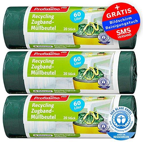 Öko Müllbeutel mit Zugband - 60 Liter (60 Stück) - Extrem Reißfest & Flüssigkeitsdicht - 3er Pack (3x20 Stück) - 'Blauer Engel' Zertifikat