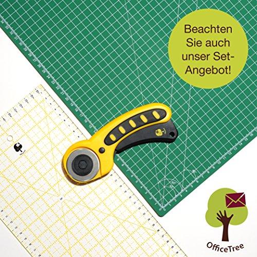 OfficeTree Set Schneidematte - 90x60 cm (A1) grün + Rollschneider + Lineal 60x16 cm - Premium-Qualität - für professionelle Schnittarbeiten -