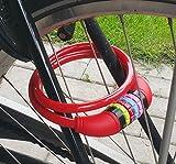 Land-Haus-Shop Stahlseil Zahlenschloss 65 cm, Fahrradschloss PVC ummantelt Fahrradzahlenschloss, Kinder Fahrrad Zahlen Schloss rot