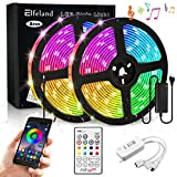 Elfeland LED Streifen 10M LED Stripes RGB 5050SMD 300 Led Bänder LED Strip steuerbar via App LED Band Sync mit Musik Lichtband Hintergrundbeleuchtung mit Fernbedienung IP65 Selbstklebend Beleuchtung