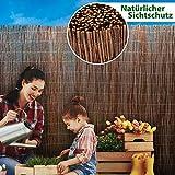 casa pura Weidenzaun Sichtschutz - Fachhandel-Qualität - kürzbar, rostfrei - Weidenzaunmatte Weidenmatte - Weiden Sichtschutzmatte - Natur Sichtschutz aus Holz - viele Größen - 90 x 300 cm