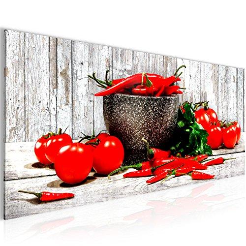 Bilder Küche - Gemüse Wandbild Vlies - Leinwand Bild XXL Format Wandbilder Wohnzimmer Wohnung Deko Kunstdrucke Blau Grau 1 Teilig - MADE IN GERMANY - Fertig zum Aufhängen 005812b