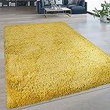 Paco Home Hochflor Wohnzimmer Teppich Waschbar Shaggy Flokati Optik Einfarbig In Gelb, Grösse:120x160 cm