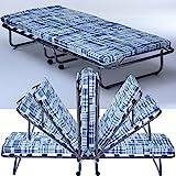 Gästebett Basic mit Matratze klappbar 80 x 190 cm Klappbett mit stabilem Metall-Rahmen Gästeliege mit Rollen