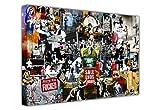 Banksy Leinwanddruck, Collage aus Druck, Graffiti, Best of Banksy, horizontal 8- A1 - 24' X 30' (60CM X 76CM)