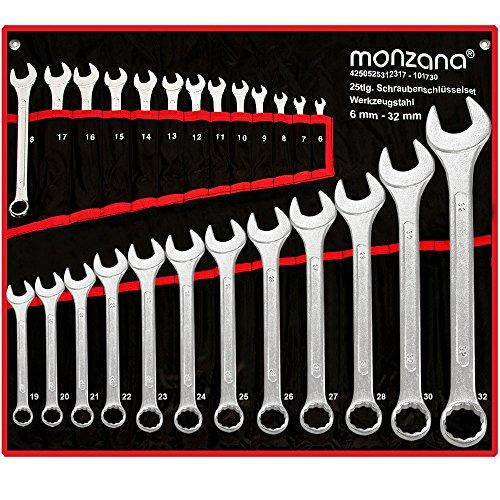 Schraubenschlüssel Set | Werkzeugstahl | inkl. Rolltasche | 25tlg. Werkzeug Set 6-32mm - 【Setauswahl】 - Ring Maulschlüssel Ringschlüssel Maulringschlüssel Ringschlüssel Schrauben Schlüssel