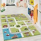 Kinderteppich Spielteppich City Hafen Straßenteppich Stadt Straße Grau Grün, Grösse:120x170 cm