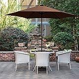 Grand patio Gartenschirm Kurbelschirm Sonnenschutz UV-Schutz Sonnenschirm Ø 270 CM, rund, Braun