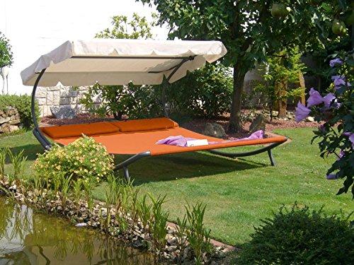Doppel Gartenliege Sonnenliege Relaxliege Doppelliege Sonnendach terrakotta Neu