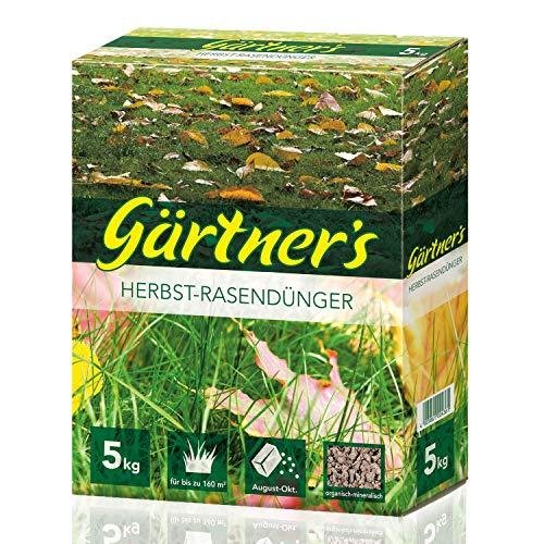 Gärtner's Herbstrasendünger 5 kg I Rasen düngen mit Extraportion Kalium I NPK Dünger Rasen und Gehölze I Organisch-Mineralischer Spezialdünger I NPK Dünger 5+5+10 I Für bis zu 160 m²