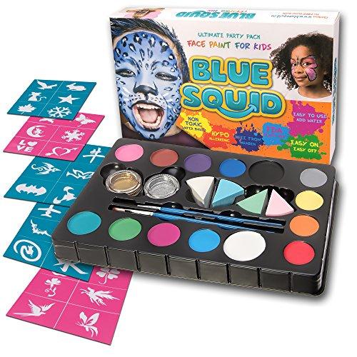 Kinderschminke Set Face Paint von Blue Squid | Ultimate Party Painting Pack | Hochwertiges Kinder Schminkset Ideal für Kinder Partys Mädchen & Fasching | Professionellemit Kinderschminke mit großer Auswahl an Schminkfarben, Schablonen, Glitzer, Gesichtsfarben| Wasserbasiert und Ungiftig
