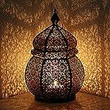 albena shop 71-4956 Teja orientalische Laterne Windlicht 34cm (schwarz / innen gold)