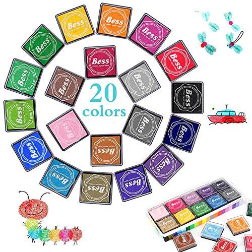 Funxim Stempelkissen Set, 2019 Neues Upgrade Stempelkissen fingerabdrücke Ungiftig Abwaschbar Stamp Pad für Leinwand Hochzeit, Papier Handwerk Stoff, Scrapbook, Geburtstag (20 Pack)