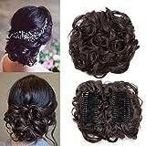 TESS Haarteil Dutt Haargummi Synthetik Haare für Haarknoten Zopf Gummiband Hochsteckfrisuren Haarband Dunkelbraun