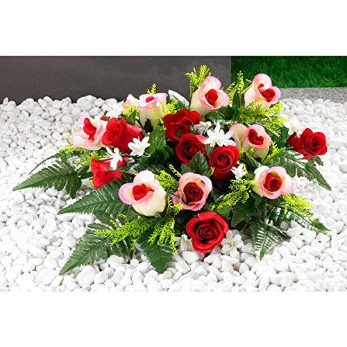 Unbekannt Grabaufleger Rosen, Grabschmuck, Kunstblumen, wetterfest, Grabdekoration, Rosenblüten, Kunststoff, Polyester