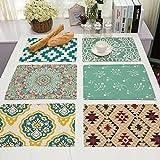 X-Labor 6er Set Tischset/Platzset Modern Design Platzmatte hochwertige Baumwolle und Leinen Tischunterlagen 42x32cm Muster-A