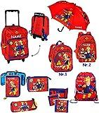 Set _ Kinder Trolley & Rucksack & Regenschirm - ' Feuerwehrmann Sam ' - incl. Name - wasserabweisend & beschichtet - für Mädchen & Jungen - Kinderschirm / Trolly mit Rollen - Kindertrolley - Trolleyrucksack - Kindertrolly - Reiseset / Kinderkoffer - Koffer - Kindergepäck - Reisetrolley / Gepäck - Handgepäck - Reisekoffer - Reisetrolly - Feuerwehrauto - Löschfahrzeug Auto / Feuerwehr / Rettung - Jones Feuerwehren Löschen - Verein - Fahrzeuge - Kinderrucksack