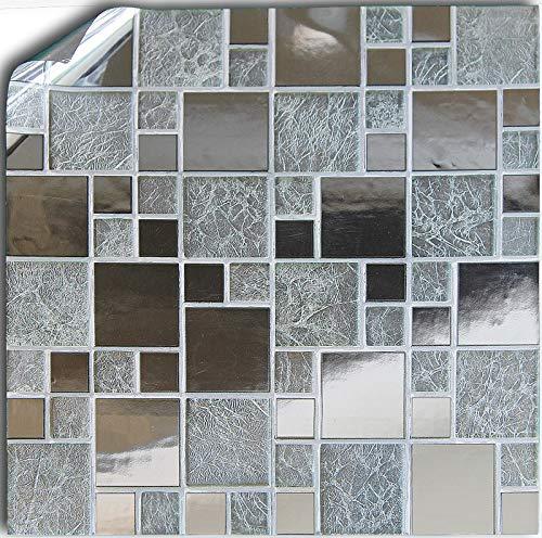 Tile Style Decals 24 stück Silber Chrom Spiegel Garu Fliesenaufkleber für Küche und Bad Mosaik Wandfliese Aufkleber für 15x15cm Fliesen Fliesen-Aufkleber Folie Farbe für Küche u. Bad - Neues 2019