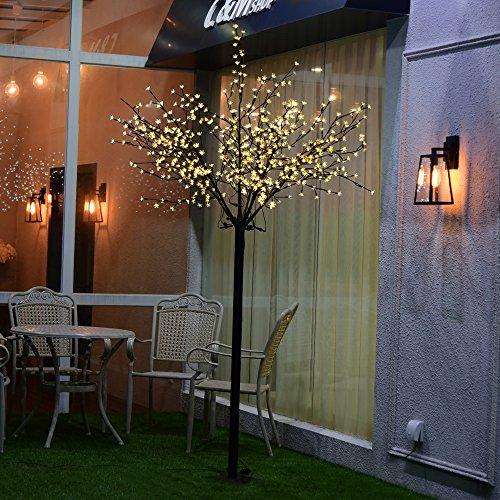 VINGO Warmweiß LED Kirschblütenbaum 250cm 600 LEDs für Innen und Außen Weihnachten Blütenbaum Lichterbaum Lichterkette