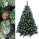 RS Trade 180 cm ca. 1095 Spitzen, Exklusiver dekorierter künstlicher Weihnachtsbaum mit Metallständer, beschneiten Spitzen und Tannenzapfen Deko, Farbe Natur-Schnee HXT 15013