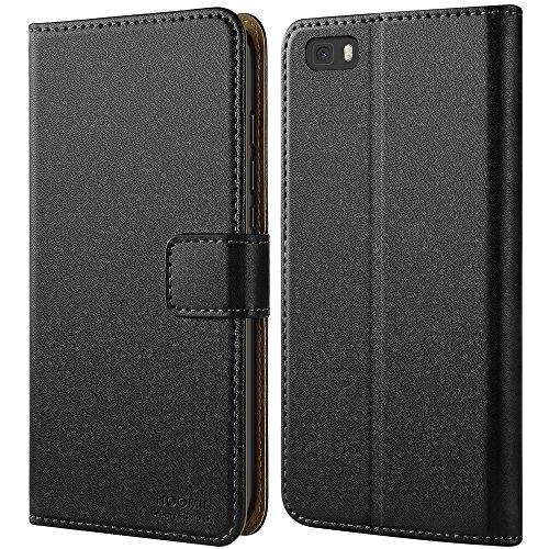 Huawei P8 Lite Hülle, HOOMIL Handyhülle Premium Leder Tasche Flip Case Schutzhülle für Huawei P8 Lite - Schwarz (H3164)