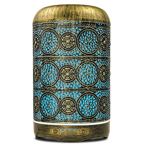 SALKING Aroma Diffuser, 260ml Metall Aromatherapie Diffusor für ätherische Öle, Raumbefeuchter Elektrisch Duftlampe, 7 Farbe Licht Vintage Diffusor Luftbefeuchter für Baby, Zuhause Büro Oder Yoga