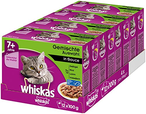 Whiskas Katzenfutter Gemischte Auswahl in Sauce 7+, 48 Portionsbeutel, (4 x 12 x 100g)