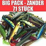Jackson 71 Stück Gummifische Set Kunstköder XL - Zander Angeln 10-13cm - Angelset Profi