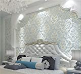 H&M Tapete dicker Damastart 3D Relief Vlies Dekoration Wohnzimmer Restaurant TV Wand Schlafzimmer Tapete -53cm (W) * 10m (L)